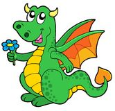 Cute dragon with flower stock photos