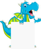Cute dragon flying cartoon with blank sign Stock Image