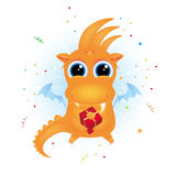 Cute dragon holding a gift Royalty Free Stock Photo