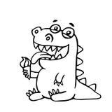 Cute dragon licks plombir. Vector illustration. Royalty Free Stock Photography