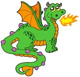 Cute dragon with long tail. Vector illustration Stock Image