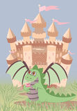 Cute dragon and magic castle Royalty Free Stock Photos