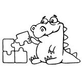 Cute dragon is played and assemble the puzzle. vector illustration. stock photography