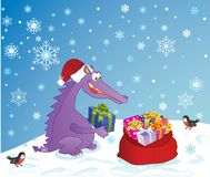 Cute Dragon and presents. Cute Dragon, symbol 2012 year, lays presents in a sack Royalty Free Stock Photos