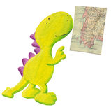 Cute dragon studying old geography map Royalty Free Stock Photography