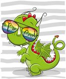 Cute Dragon with sun glasses Stock Photos