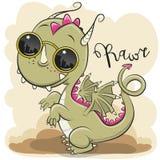 Cute Dragon with sun glasses. Cool Cartoon Cute Dragon with sun glasses stock illustration