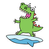 Cute dragon surfer on surfboard caught a wave. Vector illustration. Stock Photos