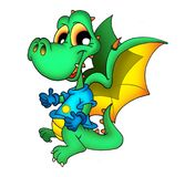 Cute dragon in T-shirt. Color illustration of cute green dragon in T-shirt vector illustration
