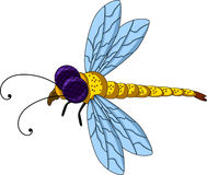 Cute dragonfly cartoon for you design Stock Photos