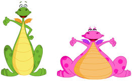 Cute dragons. Two Cute Green And Pink Dragons Royalty Free Stock Image