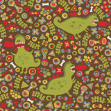 Cute dragons seamless background. Stock Image