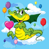 Cute dragoon fly with balloons. On blue sky stock illustration