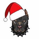 Cute drawing illustration cartoon mascot wearing christmas hat black pitbull drawing illustration white background Stock Photo