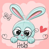 Cute Drawing Rabbit. On a pink background Stock Images