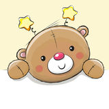Cute Drawing Teddy bear. On a yellow background Royalty Free Stock Photos