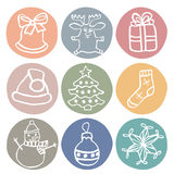 Cute drawn by hand chrismas icon set Stock Photos
