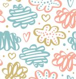 Cute drawn pattern with clouds in pastel colors. Vector drawn texture. Royalty Free Stock Image