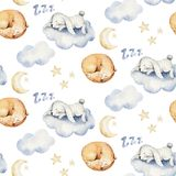 Cute dreaming cartoon animal hand drawn watercolor seamless pattern. Sleeping charecher kids nursery wear fashion design. Cute dreaming cartoon animal hand drawn royalty free illustration