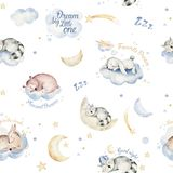Cute dreaming cartoon animal hand drawn watercolor seamless pattern. Sleeping charecher kids nursery wear fashion design. Cute dreaming cartoon animal hand drawn vector illustration