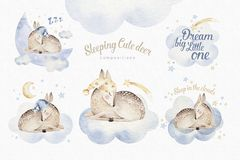 Cute dreaming cartoon deer animal hand drawn watercolor illustration. Sleeping charecher kids nursery wear fashion. Design, baby shower invitation royalty free stock photo