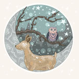 Cute dreaming deer background with mountains, tree, owl, moon vector illustration