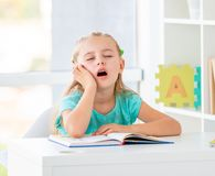 Free Cute Dreaming Little Girl At School Stock Images - 157009504