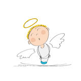 Cute dreamy angel. Original hand drawn illustration of cute dreamy angel Stock Photo