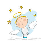 Cute dreamy angel with stars above. Original hand drawn illustration of a cute dreamy angel with stars above Stock Image