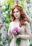 Cute dreamy bride portrait Stock Photography