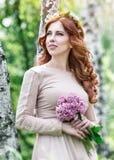 Cute dreamy bride Royalty Free Stock Image