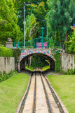 Cute dreamy railway tunnel path under the bridge Stock Photography