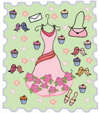 Cute dress cupcake background. Cute dress with cupcake,birds,and flowers background Stock Images