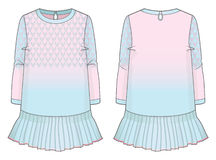 Cute dress with gradient effect. Front and back view of a cute dress stock illustration