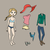 Cute dress up paper doll. Body template, clothing and accessories. Vector illustration Royalty Free Stock Image