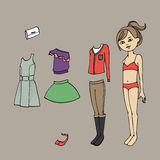 Cute dress up paper doll. Body template, clothing and accessories. Vector illustration Royalty Free Stock Photography