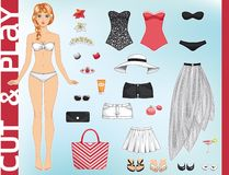 Cute dress up paper doll. Stock Photography