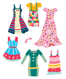 Cute Dresses. Set of cute, colorful garments with various patterns and shapes Royalty Free Stock Image