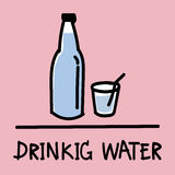 Cute drinking water hand-drawn style, vector illustration. Cute drinking water hand-drawn style,drawing,hand drawn vector illustration Stock Photos