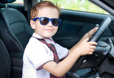 Cute driver sits in car Royalty Free Stock Photo