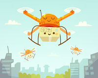 Cute drone and package. Drone delivery Stock Images
