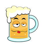 Cute drunk beer mug Royalty Free Stock Photos