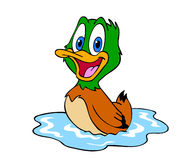 Cute Duck. Hand drawn cartoon of a little duck in a pond Royalty Free Stock Photos
