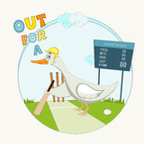 Cute duck with a bat or cricket concept. Royalty Free Stock Image