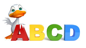 Cute Duck cartoon character with ABCD sign. 3d rendered illustration of Duck cartoon character with ABCD sign Royalty Free Stock Photos