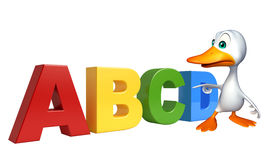Cute Duck cartoon character with ABCD sign. 3d rendered illustration of Duck cartoon character with ABCD sign Stock Photos