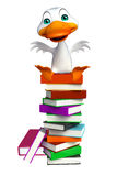 Cute Duck cartoon character with book stack Royalty Free Stock Photo
