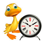 Cute Duck cartoon character with clock Royalty Free Stock Photography