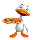 Cute Duck cartoon character with pizza. 3d rendered illustration of Duck cartoon character with pizza Royalty Free Stock Image