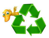 Cute Duck cartoon character with recycle sign Royalty Free Stock Image